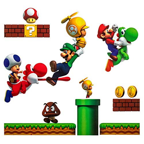Super Mario Brothers PVC Removable Wall Stickers Kids Room Decoration -