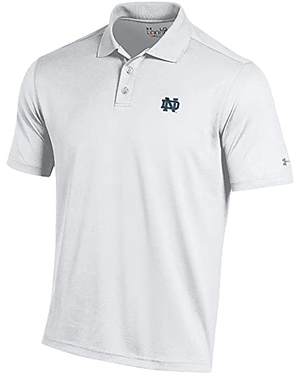 2042b295 Notre Dame Fighting Irish Mens White Performance Polo Shirt by Under Armour  (Medium)