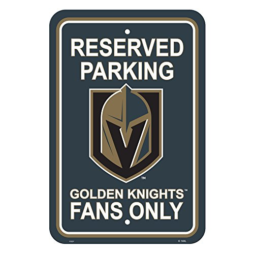 NHL Vegas Golden Knights Plastic Parking Sign, Black & Gold,