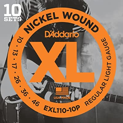 D'Addario EXL110-10P Nickel Wound Electric Guitar Strings, Regular Light, 10-46, 10 Sets from D'Addario &Co. Inc