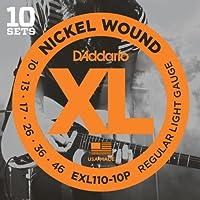 Cuerdas de guitarra eléctrica D'Addario XL Nickel Wound, calibre de luz regular - Herida redonda con acero enchapado en níquel para un tono brillante distintivo de larga duración y excelente entonación - 10-46, 10 sets
