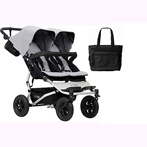 Mountain Buggy Duet V3_6 Double Buggy Stroller – Silver with Diaper Bag