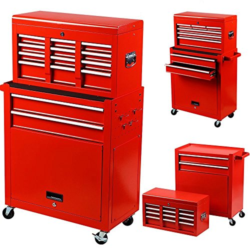(Garden Bean Portable Top Chest Tool Storage Box Cabinet Sliding Drawers 2 in 1 Rolling Red)