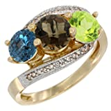 14K Yellow Gold Natural London Blue Topaz, Smoky Topaz & Peridot 3 stone Ring Round 6mm Diamond Accent, sizes 5 - 10