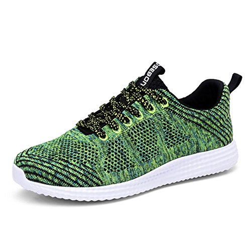 Cheap KONHILL Women's Breathable Athletic Walking Casual Sneakers Lace – Up Running Sports Shoes, Green, 37