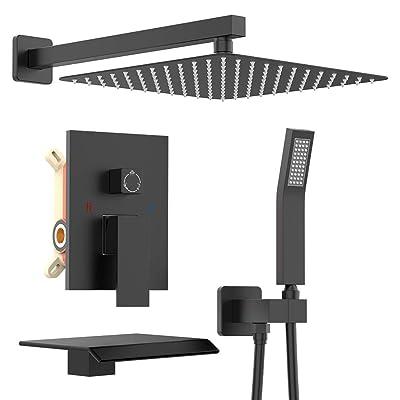 "Matte Black Shower Faucet System kit 12/""LED Shower Head Set 2way Valve Mixer Tap"