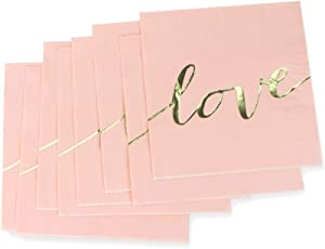 Pink Luncheon Paper Napkins Stamped with Sparkle Gold LOVE Letters - Folded 6.5 x 6.5 inch/Unfolded 13 x 13inch for Wedding, Bridal/Baby Shower, Dinner Party, Birthday Party (48 Count)