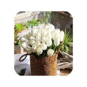 11PCS Pu Mini Tulips Artificial Bouquet Real Touch Flowers for Home Wedding Decorative Flowers Wreaths Holding Flowers 116