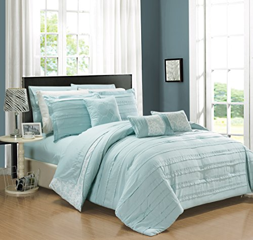 Chic Home CS2418 10 Piece Lea Complete Pleated Ruffles and Reversible Printed King Bed in a Bag Comforter Set Aqua Sheets Included