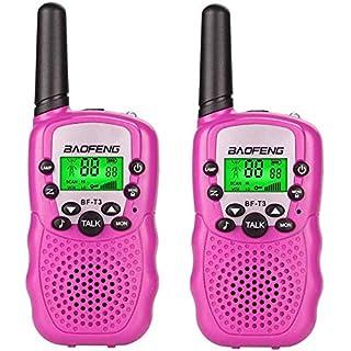 BF-T3 Kids' Walkie Talkies 22 Channel Children's Two-Way Radio FRS/GMRS UHF Long Range (1 Pair)-Pink