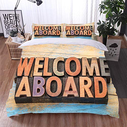 VROSELV-HOME 3 Piece Quilt Coverlet Bedspread,Welcome Aboard in Wood Type,Soft,Breathable,Hypoallergenic,Bedding Set for Kids,Boys and Teens ()