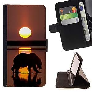 BullDog Case - FOR/Sony Xperia m55w Z3 Compact Mini / - / bear grizzly sunset ocean summer sun /- Monedero de cuero de la PU Llevar cubierta de la caja con el ID Credit Card Slots Flip funda de cuer