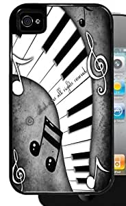 Black and White Piano Keys with Music Notes - Black iPhone 4, 4s Dual Protective Case by icecream design