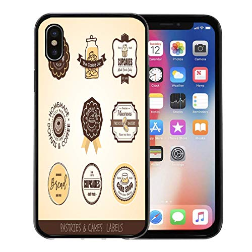 Emvency Phone Case for Apple iPhone Xs Case/iPhone X Case,Cake Cookie of Vintage Bakery Labels and Frames Jar Soft Rubber Border Decorative, Black (Cookie The Bakery Jar)