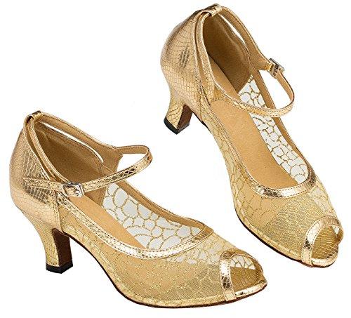 Tda Ld046 Donna Ritaglio Maglia Glitter Pu Cuoio Latino Moderno Samba Rumba Scarpe Da Ballo Di Nozze Oro