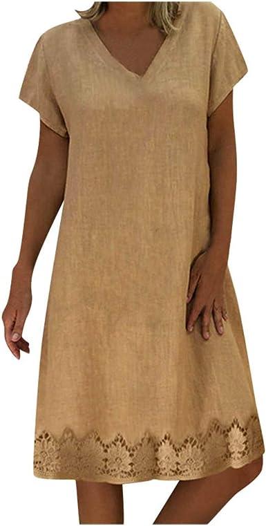 Vestidos Mujer Casual Verano Fiesta Mujer Verano De Playa Vestido De Lino De Verano Vestido Mujer Mujer Camiseta AlgodóN Casual Tallas Grandes Vestido De SeñOras Tallas Grandes Vestidos De Playa: Amazon.es: Ropa