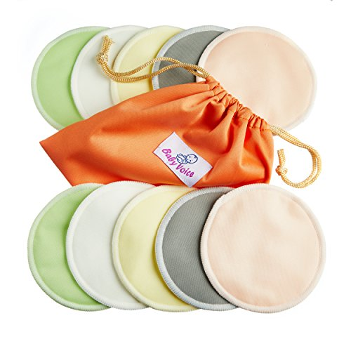 Washable Nursing Pads 10 Pack (Organic Bamboo) + Laundry & Travel Bag + Free Breastfeeding & Sleeping Guide. Feel Safe With Softest Reusable Breast Pads by BabyVoice (Medium, pastel colors) (Nursing Pads Set)