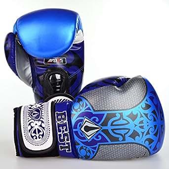 Best Defense Maori PU Boxing Gloves 12oz blue and black