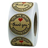 Sikye Round Natural Kraft Baked with Love/Thank You Adhesive Stickers Holiday Valentines Present Stickers 500 Labels Per Roll (C)