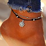Fashion Anklet -Boho Double Layer Anklet Sun Pendent Charm Women Foot Chain Ankle Bracelet