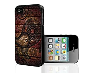 Black Paisley Print on Wood Background Hard Snap on Phone Case (iPhone 5/5s)
