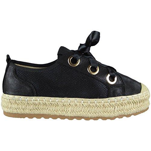 plates lacets pompes taille fortes confortables et 8 noir de sport chaussures avec femmes pour chaussures ruban à 3 Espadrilles ZnwRq68YCR