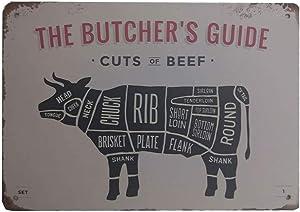 Metal Cows Decor Vintage Decor-The Butcher Cut Beef Sign,Shop Decor Sign,12