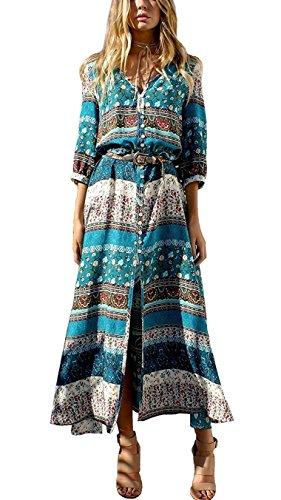 JudyBridal Women Summer Causal Slit Boho Long Beach Maxi Dresses XL Green ()