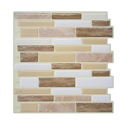 Subway Stone Tile (Peel and Stick Wall Tiles, Verona Beige Stone Tile, Backsplash Tile Stickers, 10
