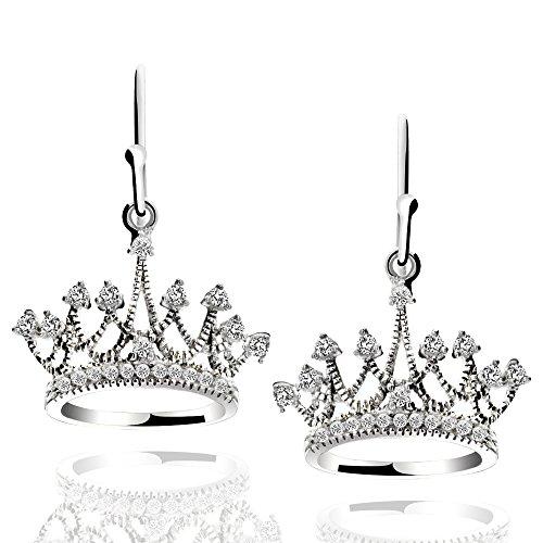 Sterling Silver Princess Crown Drop Earrings Cubic Zirconia Dangle Earrings (Round French Wire Earrings)