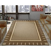 Ottomanson Jardin Collection Brown Contemporary Bordered Design Indoor/Outdoor Jute Backing Area Rug (5'3 x 7'3)