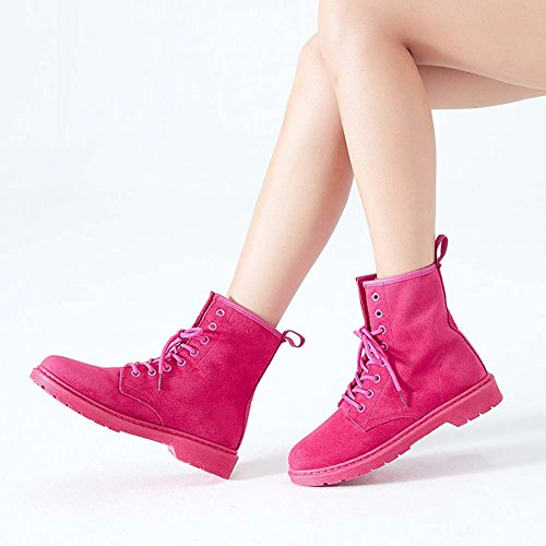 Faux Suede College Girls Shoes Rose Martin Vintage Short School ANDAY Biker Casual Women Boots q1ZnTE