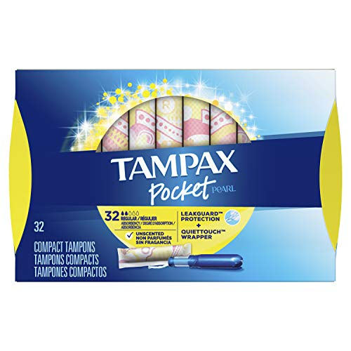 Tampax Pocket Pearl Plastic Tampons, Regular Absorbency, Unscented, 32 Count (Packaging May Vary)