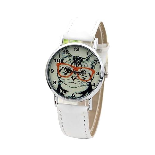 Reloj a Cuarzo analógica Gato Reloj décontractée Reloj de Pulsera Reloj de Moda Vogue Relojes para Hombre Mujer Ultra Fino Barcelet en PU (Blanco) X 1: ...