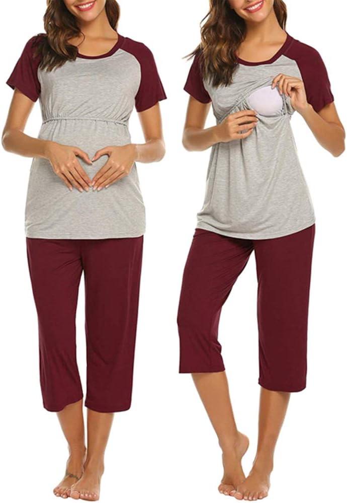 nicht null blau Oberteil 3//4 Hose Still-Pyjama doppellagig S kurze /Ärmel LZDseller01 Damen Still-Pyjama-Set bequem