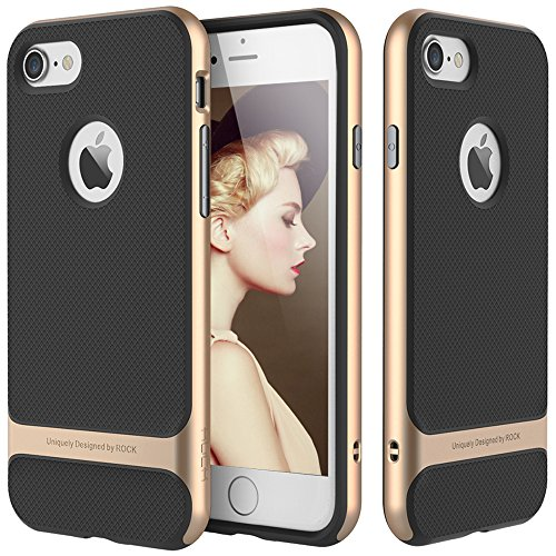 "Price comparison product image For Apple iPhone 6s Plus Case, For iPhone 6 Plus 5.5"" Case, ROCK [Royce] Anti-scratch Drop Protection Ultra Thin Fit Dual Layered Heavy Duty Armor Hybrid PC+Soft TPU Shell Case - Champagne Gold/Black"