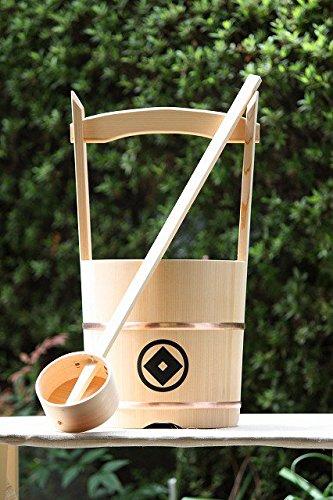 木製手桶(小) 木製ひしゃく1本付 (家紋入り) B01L8CEPJ0 家紋入り 家紋入り