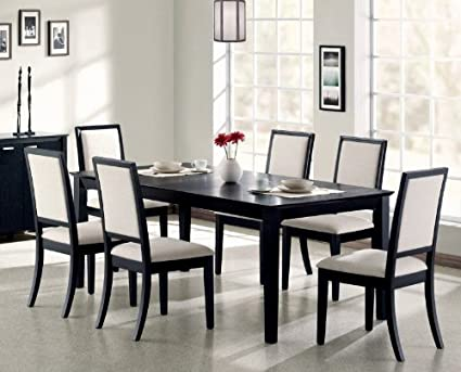 7pc Formal Dining Table U0026 Chairs Set Distressed Black Finish