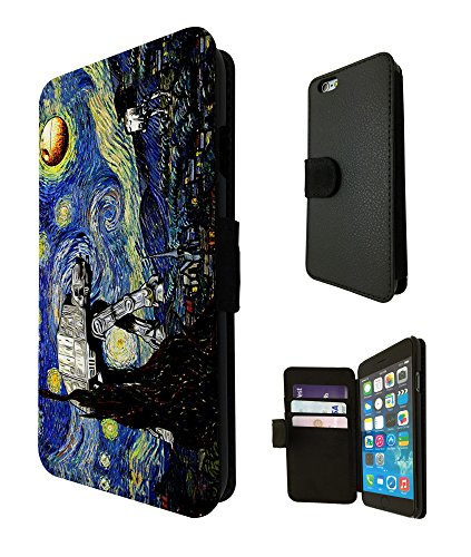 895 - Vincent Van Gogh Starry Night Star Wars robot Design iphone 6 / 6S 4.7'' Fashion Trend TPU Leder Brieftasche Hülle Flip Cover Book Wallet Credit Card Kartenhalter Case