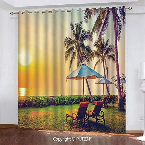 Satin Grommet Window Curtains Drapes [ Seaside,Empty