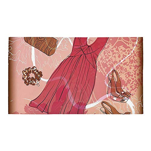 "C COABALLA Heels and Dresses Rectangular Bath Rug,Spring Inspired Floral Abstract Backdrop Pink Dress Shoes Bracelet Decorative for Bathroom,28"" L x 16"" W"