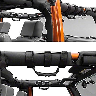 AnTom Jeep Wrangler Roll Bar Grab Handles, Heavy Duty Unlimited Wrangler Roll Bar Strong Durable, Easy to Fit 3 Straps Design, Fits 1955-2020 Models JK JKU CJ CJ5 CJ7 YJ TJ (Pack of 2): Automotive