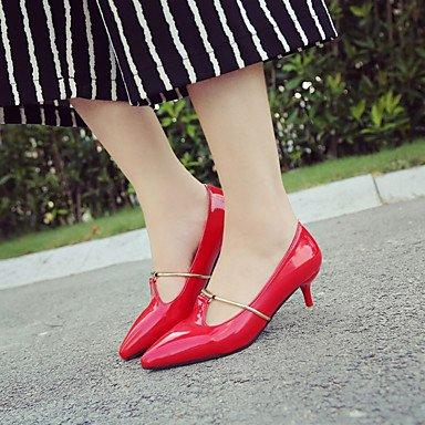 Talones de las mujeres del resorte de la PU Comfort exterior del talón de estilete Negro Rosa Gris rojo que recorre Gray
