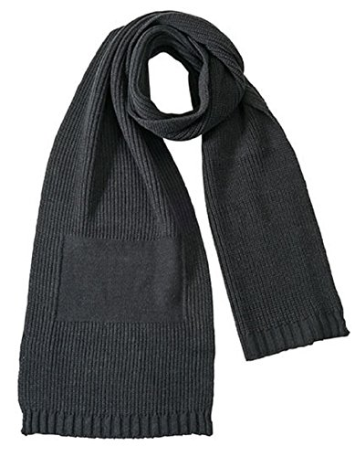 negro bufanda en punto acanalado Agx estampada XCdwqq