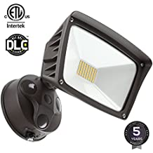Dusk-to-dawn LED Outdoor Flood Light (Photocell Included), 3400lm Ultra-bright Waterproof Security Floodlight, 28W (220W Equiv.), DLC and ETL-listed Exterior Lighting for Yard Porch, 5000K Daylight