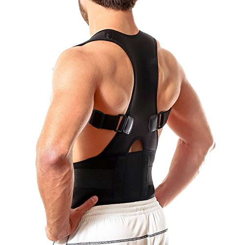Back Brace Posture Corrector L - Fully Adjustable Support Brace - Improves Posture and Provides Lumbar Support - for Lower and Upper Back Pain - Men and Women (L (30-35 inch Waist))