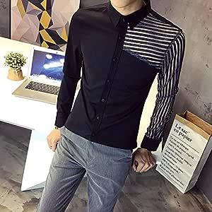 OBHDGVWN Estilo Camisa de Esmoquin para Hombre Otoño Nuevo Ver a través de Encaje Camisas de Vestir de Manga Larga Hombre Slim Fit Casual Prom Tops Social: Amazon.es: Deportes y aire libre