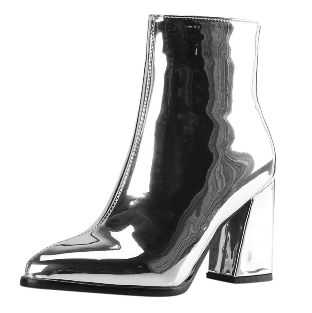 Kauneus Womens Mirror Patent Leather Party Dress Ankle Boots Pointed Toe Side Zipper Chunky Heel Fashion Mid Calf Boots Silver by Kauneus Fashion Shoes