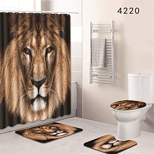 - Oyeahbridal Set of 4 Animal 3D Printing Theme Shower Curtain and Bath Mat Set,African Lion Decor Waterproof Non-slip Bathroom Curtain and Rug Set with Hooks(Multi 18)