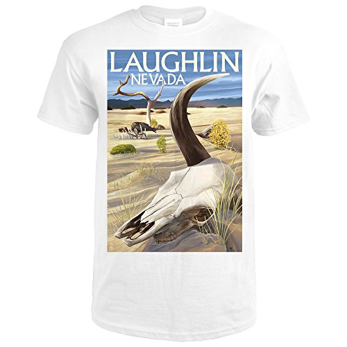 Cow Skull - Laughlin, Nevada (Premium White T-Shirt - Of Laughlin Images Nevada